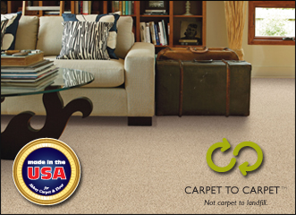 Infinity Nylon carpet fiber™.  Made in the USA.  Carpet to carpet not carpet to landfill.